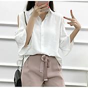 Mujer Simple Casual/Diario Camisa,Escote Chino Un Color Media Manga Algodón Otro