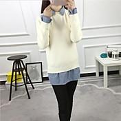 Mujer Regular Pullover Casual/Diario Simple,Un Color Cuello Camisero Manga Larga Lana Otoño Invierno Medio Microelástico