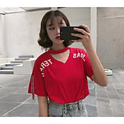 Mujer Bonito Casual/Diario Camiseta,Cuello Barco Letra Manga Corta Algodón