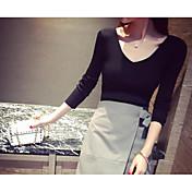 Mujer Corto Pullover Casual/Diario Un Color Escote en Pico Manga Larga Algodón Primavera Verano Medio Microelástico