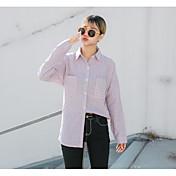 Mujer Simple Casual/Diario Camisa,Escote Chino A Rayas Manga Larga Algodón