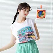 Mujer Simple Casual/Diario Tank Tops,Escote Redondo Estampado Letra Sin Mangas Algodón