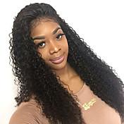 Mujer Pelucas de Cabello Natural Cabello humano Encaje Frontal 130% Densidad Rizado rizado Peluca Negro Medio Largo Entradas Naturales