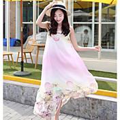 Mujer Vaina Vestido Noche Casual/Diario Floral Escote Redondo Midi Sin Mangas Poliéster Verano Tiro Medio Microelástico Fino