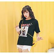 Mujer Simple Casual/Diario Camiseta,Escote Redondo Un Color Letra Manga Corta Algodón