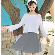Mujer Simple Casual/Diario Verano T-Shirt Falda Trajes,Escote Redondo Ajedrez Manga Larga
