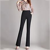 レディース シンプル ストリートファッション ハイライズ ストレート ブーッカット 伸縮性 ビジネス パンツ ソリッド