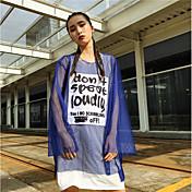 Mujer Simple Casual/Diario Camiseta,Escote Redondo Letra Manga Larga Otro