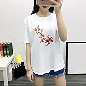 Mujer Tejido Oriental Noche Camiseta,Escote Redondo Un Color Bordado Manga Corta Algodón