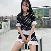 Mujer Vintage Noche Verano Blusa Pantalón Trajes,Escote Redondo A Lunares Manga Corta