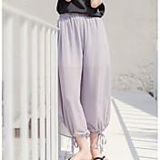 Mujer Sencillo Tiro Alto Microelástico Perneras anchas Pantalones,Corte Ancho Un Color