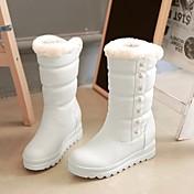 Mujer Zapatos Semicuero Otoño Invierno Forro de pelusa Botas Tacón Plano Dedo redondo Mitad de Gemelo Remache Para Casual Vestido Blanco