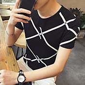 Hombre Simple Activo Camiseta,Escote Redondo Un Color A Rayas Manga Corta Algodón