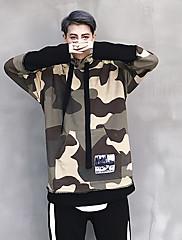 Masculino Jaqueta Casual Activo Outono,camuflagem Padrão Algodão Com Capuz Manga Longa