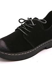 Feminino Sapatos Couro Ecológico Outono Inverno Conforto Oxfords Salto Baixo Ponta Redonda Cadarço Para Casual Preto Cinzento Verde
