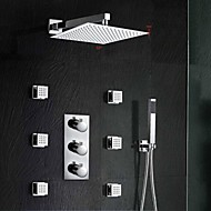 Moderne Vægmonteret Termostatisk with  Messing Ventil Tre Huller Tre Håndtak tre hull for  Krom , Dusjkran