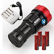 3 LED Lommelygter LED 11000lm Lumen Tilstand Cree XM-L T6 4 x 18650 Batterier Glidesikkert Greb Genopladelig Vandtæt for