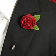 Men's Casual Red Flower And Green Leaves Silk Goods Brooch