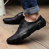 Masculino sapatos Couro Primavera Verão Outono Inverno Conforto Oxfords Cadarço Para Casual Preto Marron