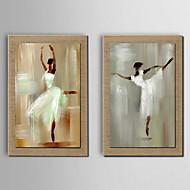 olieverf decoratie abstracte mensen de hand geschilderd natuurlijke linnen met gestrekte frame - set van 2