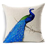 синий павлин с рисунком хлопок / лен декоративная подушка крышка