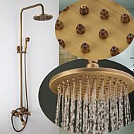 Antique Montage mural Jet pluie Douche pluie Douchette inclue with  Soupape en laiton 3 trous Deux poignées trois trous for  Bronze