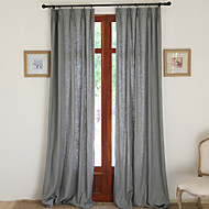 Two Panels Modern Solid Grey Bedroom Linen Cotton Blend Panel Curtains Drapes