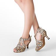 Индивидуальные женские Leopard атласная Верхний T-ремень Обувь для танцев
