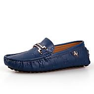 Masculino sapatos Couro Primavera Verão Outono Inverno Conforto Mocassins e Slip-Ons Para Casual Branco Preto Azul