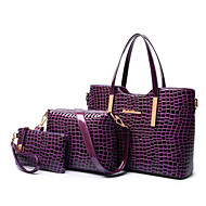 Women Bags All Seasons PU Patent Leather Shoulder Bag Tote Bag Set with for Shopping Casual Formal Office & Career Black Purple Red