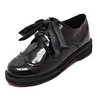 Ženske cipele - Oksfordice - Ležerne prilike - Umjetna koža - Kockasta potpetica - Zaobljene cipele - Crna