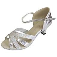 Aanpasbaar - Voor dames - Dance Schoenen (Zilver) - met Aangepaste  hak - en Latijn / Salsa