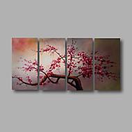 Hånd-malede Abstrakt / Blomstret/BotaniskModerne Fire Paneler Canvas Hang-Painted Oliemaleri For Hjem Dekoration