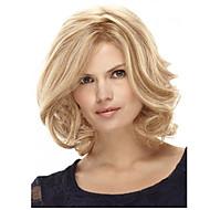 Kvinder Syntetiske parykker Lokkløs Medium Krøllete Blond Side del Bobfrisyre Med lugg Naturlig parykk costume Parykker