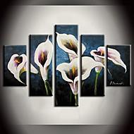 Maalattu Abstrakti Maisema Asetelma Kukkakuvio/Kasvitiede Mikä tahansa muoto,Moderni 5 paneeli Kanvas Hang-Painted öljymaalaus For