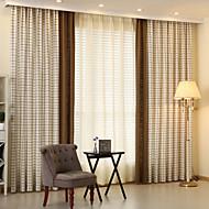 Dvije zavjese Moderna / Neoclassical / Mediterranean / Europska / Zemlja Plaid/Check / Tartan Bež / Srebrna BedroomMješavina