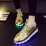 נשים גבריםדמוי עור-להאיר נעליים-כסוף זהב-שטח יומיומי ספורט-עקב שטוח