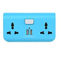 dual-port usb eu plug-adapter lader met 2 x stopcontacten voor mobiele telefoon / tablet pc