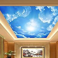 3d shinny o efeito de couro céu azul mural de parede teto grande lobby e nuvens pintura do teto decoração arte