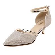 여성 발목 끈 봄 여름 글리터 레더렛 캐쥬얼 드레스 파티/이브닝 낮은 굽 실버 골든 2.5cm- 4.5cm