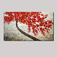 Maalattu Asetelma / Kukkakuvio/Kasvitiede öljymaalauksia,Moderni / Pastoraali 1 paneeli Kanvas Hang-Painted öljymaalaus For Kodinsisustus