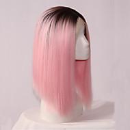 muoti suora synteettinen Nyörilliset peruukki liimattoman 1b / vaaleanpunainen väri peruukit