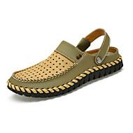 Kényelmes-Lapos-Női cipő-Szandálok Papucs és papucs-Alkalmi-Bőr-Barna Barnás szürke Khaki