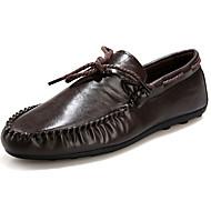 남성 보트 신발 컴포트 모카신 면 PU 봄 가을 캐쥬얼 워킹화 컴포트 모카신 플랫 화이트 블랙 브라운 플랫