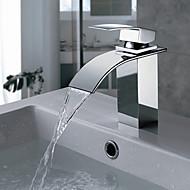 Moderne Basin Vandfald with  Messing Ventil Enkelt håndtag Et Hul for  Krom , Badekarshaner / Køkken Vandhane / Håndvasken vandhane