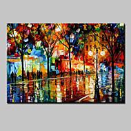 Kézzel festett Absztrakt Landscape Absztrakt tájkép Vízszintes,Modern Egy elem Vászon Hang festett olajfestmény For lakberendezési