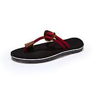 Αντρικό Παντόφλες & flip-flops Πανί Καλοκαίρι Causal Πλεκτό Λουράκι Επίπεδο Τακούνι Μαύρο Καφέ Κόκκινο Χακί Επίπεδο