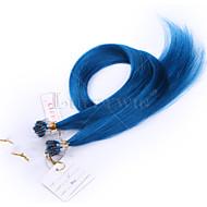 10A 최고급 마이크로 루프 헤어 확장 파란색 직선 8-28inch 100g 100 % 브라질 사람의 모발