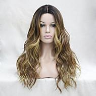 Naisten Synteettiset peruukit Lace Front Pitkä Laineikas Beige Liukuvärjätyt hiukset Tummat juuret Raidoitetut hiukset Luonnollinen
