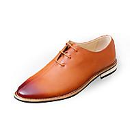 Masculino sapatos Couro Ecológico Primavera Outono Conforto Sapatos formais Oxfords Cadarço Para Casual Preto Cinzento Marron Vermelho
